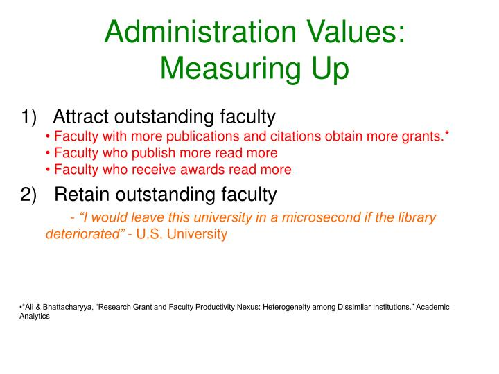 Administration Values: Measuring Up