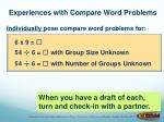 experiences with compare word problems