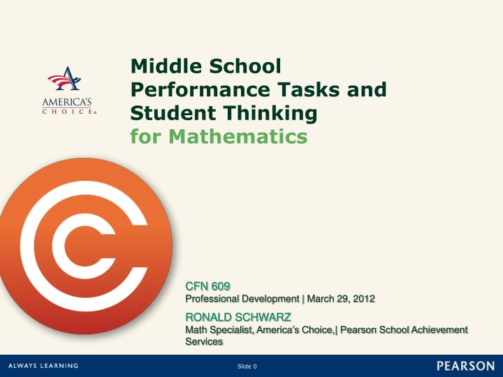 middle school performance tasks and student thinking for mathematics n.