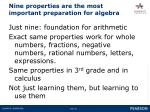 nine properties are the most important preparation for algebra