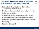 the most important ideas in the ccss mathematics that need attention
