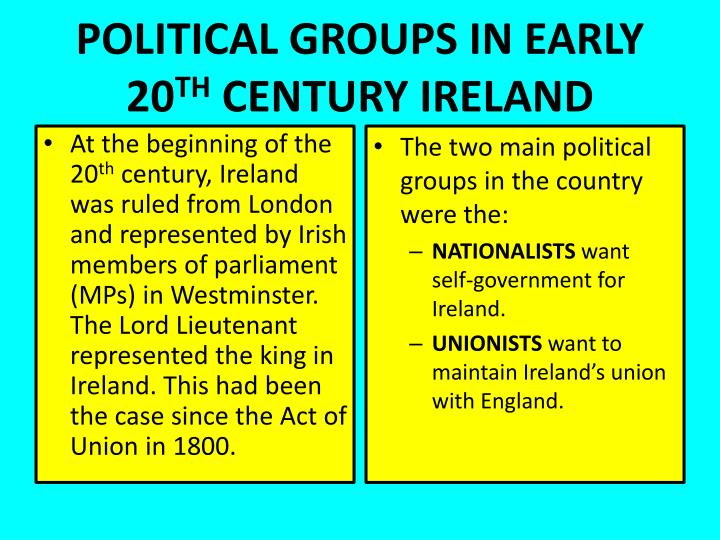 Political groups in early 20 th century ireland