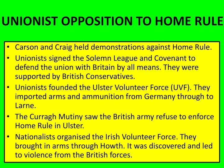 UNIONIST OPPOSITION TO HOME RULE