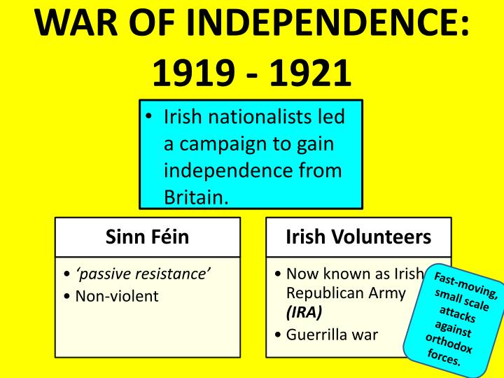 WAR OF INDEPENDENCE: 1919 - 1921