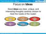 focus on ideas