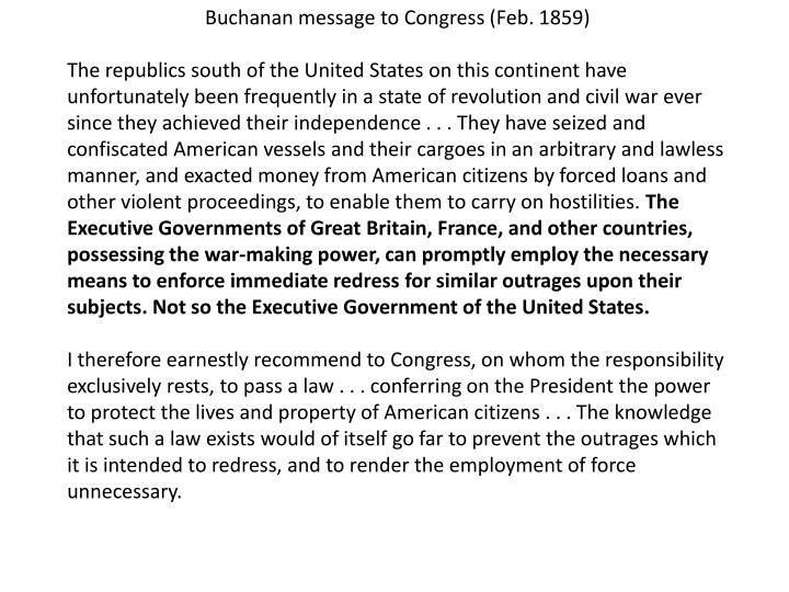 Buchanan message to Congress (Feb. 1859)