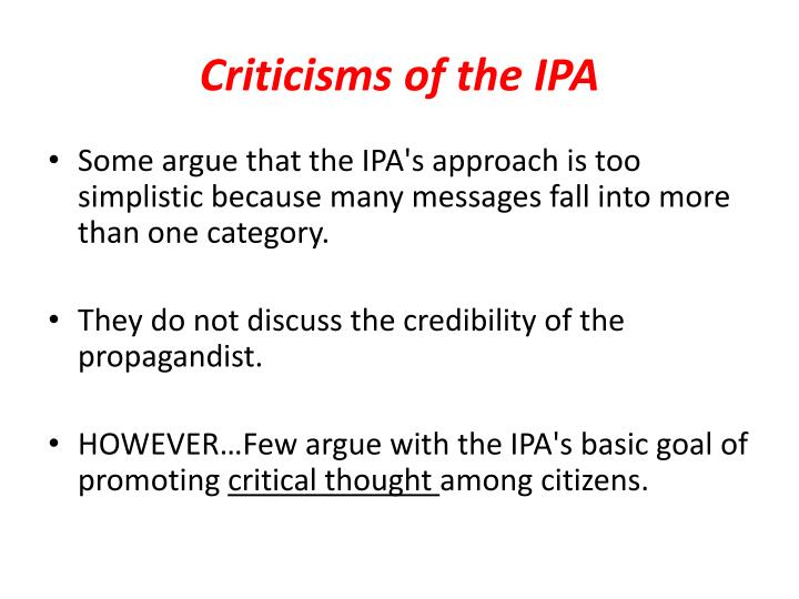 Criticisms of the IPA