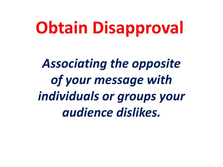 Obtain Disapproval