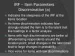 irf item parameters discrimination a