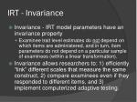 irt invariance1