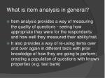 what is item analysis in general