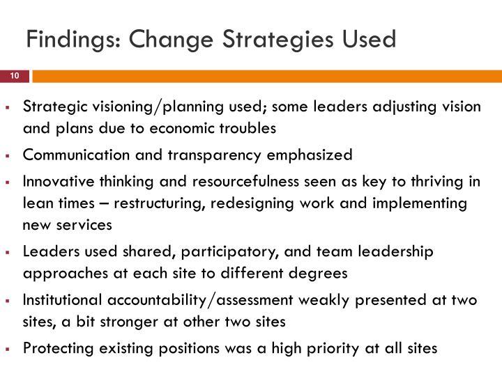 Findings: Change Strategies Used