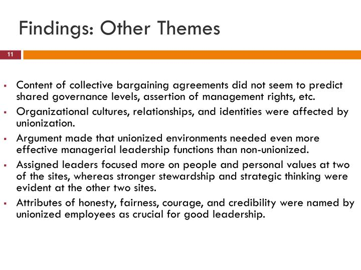Findings: Other Themes
