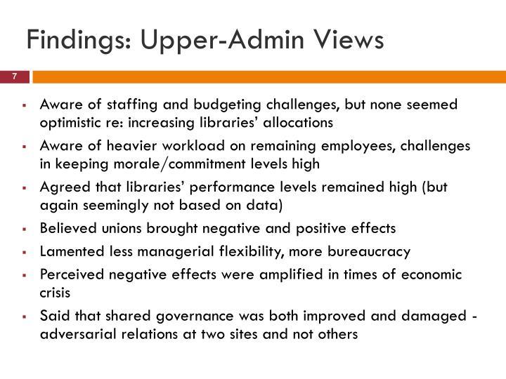 Findings: Upper-Admin Views