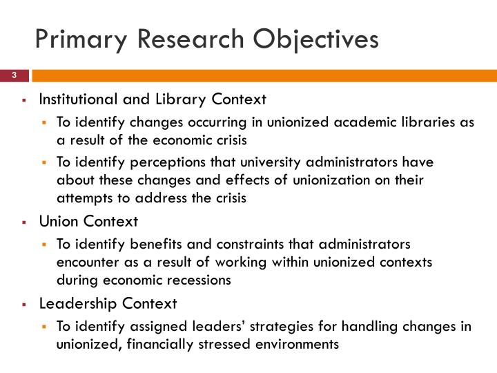 Primary research objectives