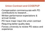 union contract and cosepup