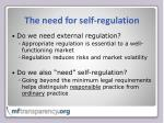 the need for self regulation