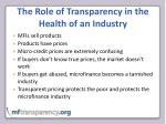 the role of transparency in the health of an industry