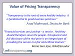 value of pricing transparency