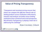 value of pricing transparency1