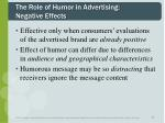 the role of humor in advertising negative effects