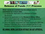 release of funds rof process