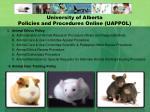 university of alberta policies and procedures online uappol