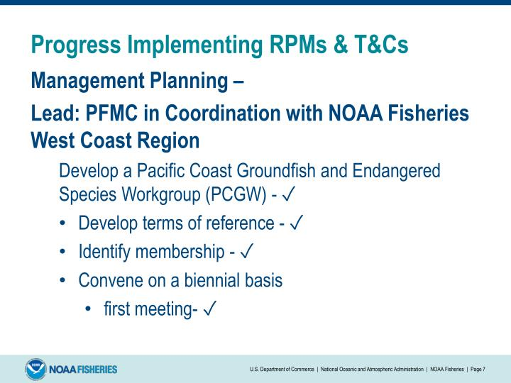 Progress Implementing RPMs & T&Cs
