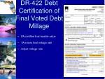 dr 422 debt certification of final voted debt millage