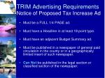 trim advertising requirements notice of proposed tax increase ad