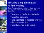 trim hearing information at the hearing2