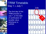trim timetable day 1 july 1