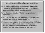 humanitarian aid and power relations