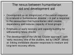 the nexus between humanitarian aid and development aid