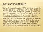 howe on the cherokee