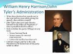 william henry harrison john tyler s administration