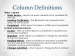 column definitions