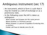 ambiguous instrument sec 17
