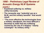 1998 preliminary legal review of acoustic energy nlw systems cont