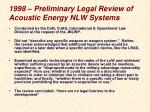 1998 preliminary legal review of acoustic energy nlw systems