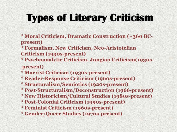 approaches of new criticism This resource will help you begin the process of understanding literary theory and schools of criticism and how they are used in the academy.