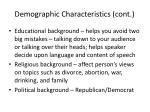 demographic characteristics cont