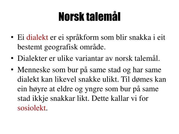 Norsk talemål