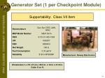generator set 1 per checkpoint module