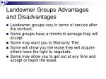 landowner groups advantages and disadvantages1