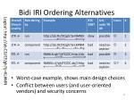 bidi iri ordering alternatives