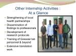 other internship activities at a glance
