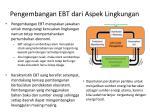 pengembangan ebt dari aspek lingkungan