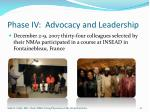 phase iv advocacy and leadership