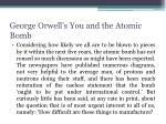 george orwell s you and the atomic bomb